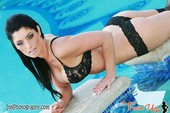 Eva Marie Black Lingerie by The Pool