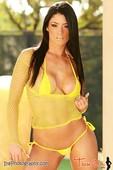 Eva Marie Topless in Yellow Fishnet Bikini